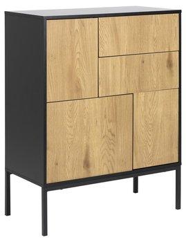Komoda Seaford 80x103 cm 2 szuflady czarno-naturalna-Actona