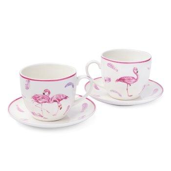 Komplet filiżanek ze spodkami TADAR Flamingo, biały, 2 szt., 250 ml-Tadar