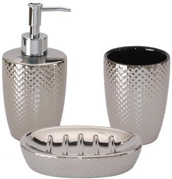 Komplet łazienkowy 3-elementowy srebrny - Yoka-Yoka Home