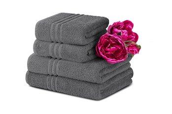 Komplet ręczników średnich KONSIMO Mantel, szary, 70x130, 50x90 cm, 4 szt.-Konsimo
