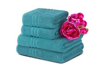 Komplet ręczników średnich KONSIMO Mantel, turkusowy, 70x130, 50x90 cm, 4 szt.-Konsimo