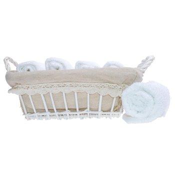 Komplet ręczników w koszyku DUWEN Mead, biały, 30x30 cm, 5 szt.-Duwen