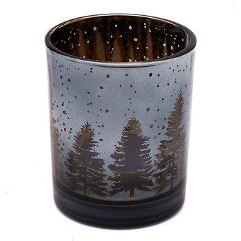 Komplet świeczników tealight TADAR Choinki, srebrny, 6x7 cm, 3 szt.-Tadar