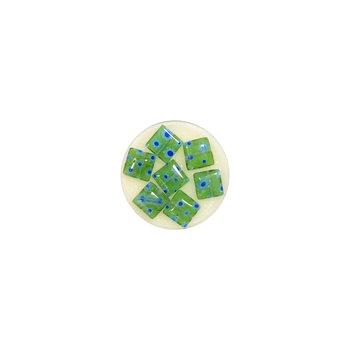 Koraliki ozdobne, kwadratowe, zielone, 7 sztuk