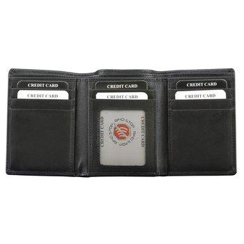 Koruma, Trifold, Skórzany portfel męski, czarny, 11,5x8,5 cm-Koruma