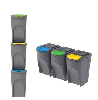 Kosz do segregacji śmieci PROSPERPLAST, szary, 3x35 l-PROSPERPLAST