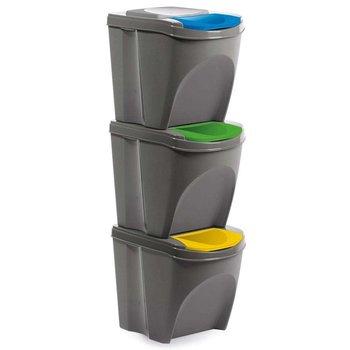 Kosz na odpady śmieci SZARY do segregacji 3x21L śmietnik-Orion