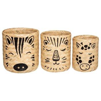 Kosze bambusowe ANIMALS, 3 rozmiary, z nadrukiem zwierząt-Atmosphera for kids