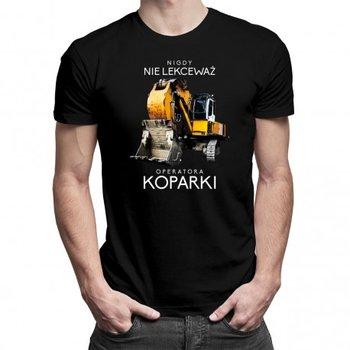 Koszulkowy, Koszulka męska, Nigdy nie lekceważ operatora koparki, rozmiar M-Koszulkowy