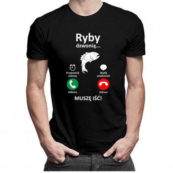 Koszulkowy, Koszulka męska, Ryby dzwonią, muszę iść- męska koszulka z nadrukiem, rozmiar L-Koszulkowy