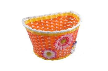 Koszyk na kierownicę dziecięcy, plastikowy, pomarańczowy, 14x22 cm