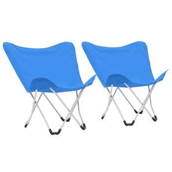 Krzesła turystyczne motyle, 2 szt., składane, niebieskie-vidaXL