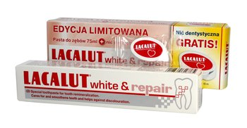 Lacalut, White & Repair, pasta do zębów + nić dentystyczna, 75 ml-Lacalut