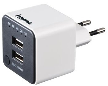 Ładowarka sieciowa z timerem HAMA, 2 x USB-Hama