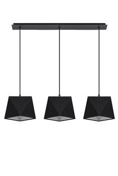 Lampa wisząca SOLLUX Diament 3, czarna, 3x60 W-SOLLUX LIGHTING
