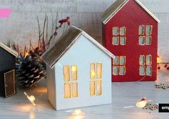 Lampion domek - zimowa dekoracja zero waste