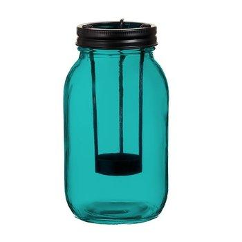 Lampion szklany TADAR, 9.5x17.5cm, turkusowy-Tadar