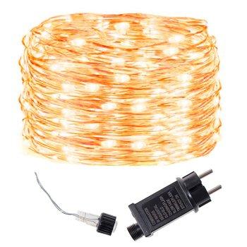 Lampki choinkowe 300 led druciki na prąd biały ciepły-Springos