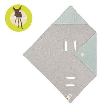 Lassig, Dziergany kocyk z kapturkiem do fotelika niemowlęcego, Cozy Home, 78x78 cm, Pastelowo-miętowy -Lassig