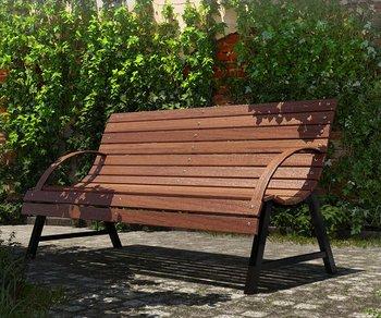 Ławka ogrodowa ELIOR Wagris, ciemny orzech, 76x150x82,5 cm-Elior