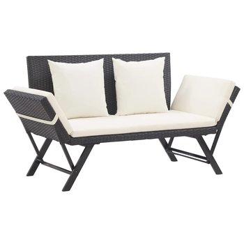 Ławka ogrodowa z poduszkami VIDAXL, czarna, 176 cm-vidaXL