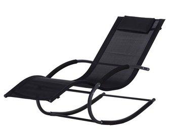 Leżak ogrodowy leżanka fotel bujany Czarny ModernHome-Modernhome