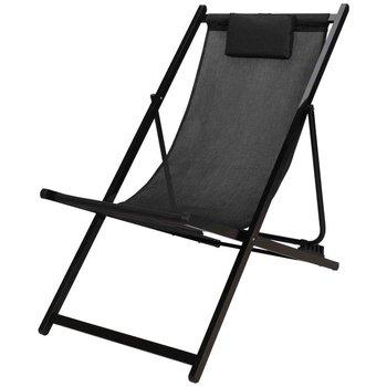 Leżak ogrodowy plażowy składany czarny metalowy 101x61x91 cm-Ambiance