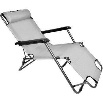 Leżak ogrodowy składany krzesło plażowe Ibiza jasnoszary-SEVERNO Garden