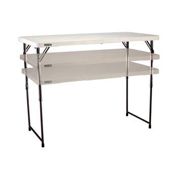 LIFETIME Stół składany w pół o regulowanej wysokości, biały, 61,8x60,9x7,8 cm -Lifetime