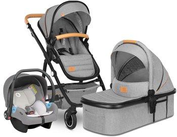 Lionelo, Amber 3, Wózek wielofunkcyjny, spacerówka + gondola + nosidełko Astrid + torba + akcesoria, Szary-Lionelo