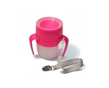 LiteCup, Świecący kubeczek niekapek z uchwytami, 200 ml, Różowy-LiteCup