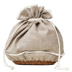 Lniany chlebak z koszykiem wiklinowym/AleWorek-AleWorek