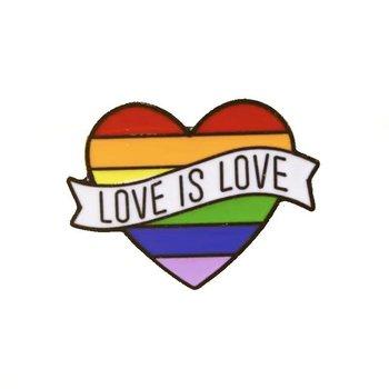 Love is love Tęczowe Serce przypinka-Pinets