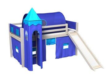 Łóżko dziecięce ze zjeżdżalnią,materacem,wieżą,kurtyną,iglem,kieszeniami i stelażem pod materac , łóżko dla dzieci antresola-Bociek Meble