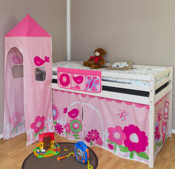 Łóżko piętrowe, różowe, Motylki, 208x110x97 cm-HomeStyle4u