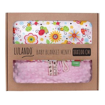 Lulando, Kocyk, Minky, Pszczółki, Różowy, 80x100 cm-Anodo