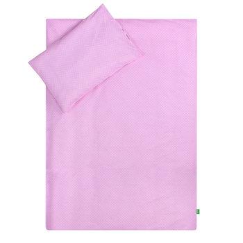 Lulando, Pościel dziecięca, 100x135 cm, Białe Groszki/Szare Chmurki, Różowy/Biały-Lulando