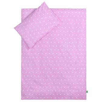 Lulando, Pościel dziecięca, 100x135 cm, Białe Gwiazdki/Szare Chmurki, Różowy/Biały-Lulando