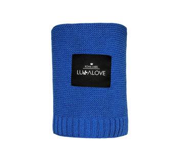 Lullalove, Koc tkany, duży, bambusowy, Granatowy, 120x100 cm-LullaLove