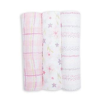 Lulujo, Kocyk muślinowy, Pink Floral, 3 szt-Lulujo