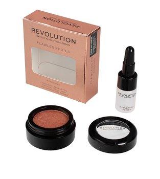 Makeup Revolution, Flawless Foils, metaliczny cień do powiek + baza Rebound-Makeup Revolution