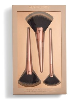 Makeup Revolution, Highlight & Finish Set, zestaw pędzli do makijażu, 3 szt.-Makeup Revolution