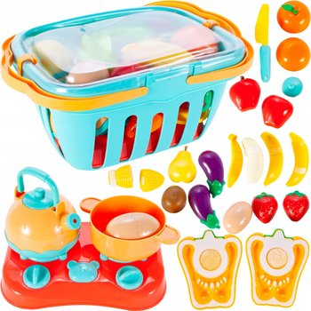 MalPlay, warzywa i owoce do krojenia koszyk + kuchenka-MalPlay