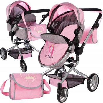 MalPlay, wózek dla lalek głęboki spacerówka z torbą gondola-MalPlay