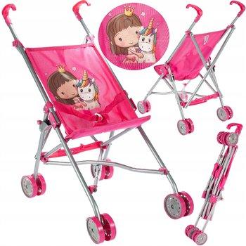 MalPlay, wózek dla lalek spacerówka parasolka jednorożec-MalPlay