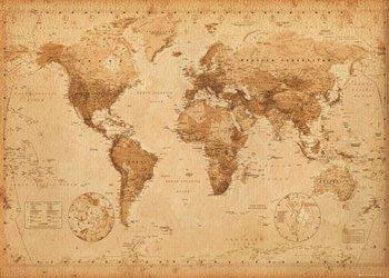 Mapa Świata w stylu vintage - plakat 140x100 cm-GBeye