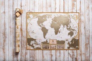 Mapa Świata Zdrapka Antyczna po Angielsku-ZdrapMape
