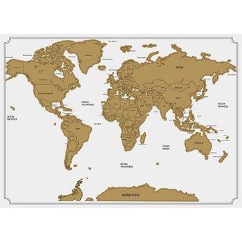 Mapa świata zdrapka ATMOSPHERA, biała, 60x82 cm-Atmosphera