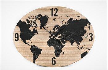 Mapa świata, zegar, SIL, brązowy, 40 cm-Sil
