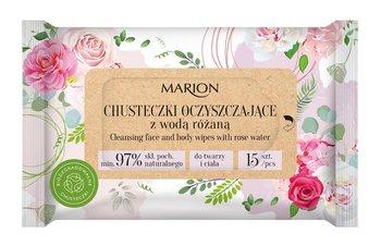 Marion, chusteczki oczyszczające do twarzy i ciała z wodą Różaną,  1op.-15szt-Marion